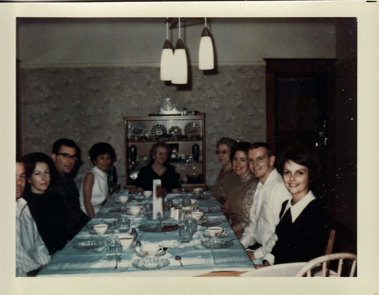 Lowell, Donna, Eldon, June, Gma Saylor, Nelma, Mom, Dad, Gayle Christmas 1967, Ranch